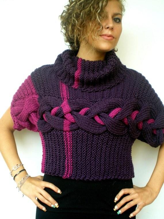 double violet pull court main tresse tricot gilet mode femme. Black Bedroom Furniture Sets. Home Design Ideas