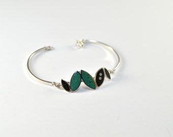 Sterling Silver Bracelet, Small Seeds, Modern, Contemporary, Black, Green, Color