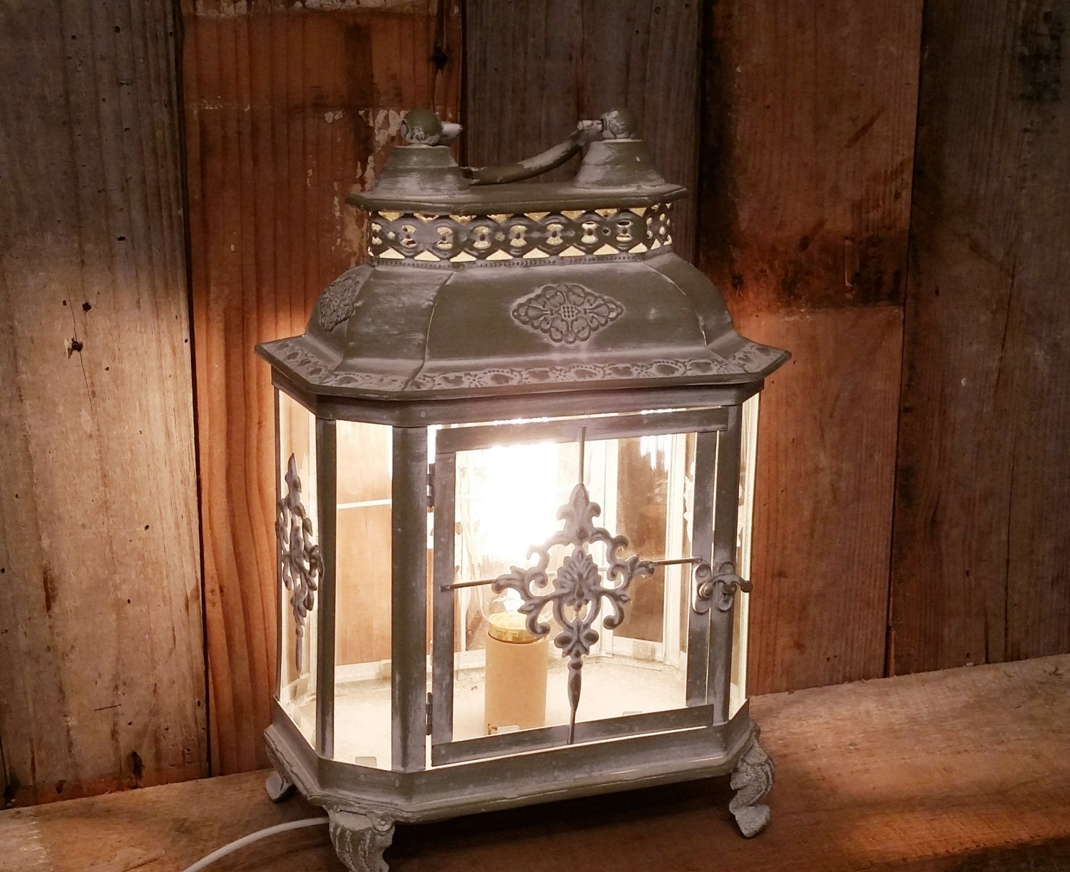 Shabby Chic White Lamp Nightstand Desk Lantern Rustic Home
