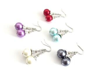 Glass Pearl Dangle Earrings