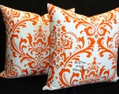 Decorative Pillows, Accent Pillows,Throw Pillows, Pillow Covers -  Orange and White - Set of Two 18 Inch