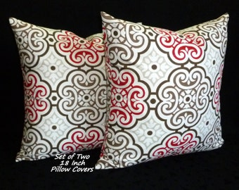 Throw Pillows, Accent Pillows,18 Inch Pillows, Decorative Pillows, Pillow Covers - Set of Two - Taupe, Brown, Red and White.