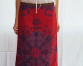 RESERVED..... 70s maxi skirt boho NOUVEAU deepest red medallion supermodel length m, l