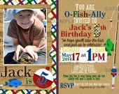 Fishing Party Birthday Invitation Primary Colors red blue green yellow plaid Fishing Rod polka dot fish camp party