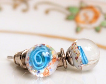 Paperweight Glass Earrings Post Vintage Pretty Blue Glass Embedded Flowers Stud