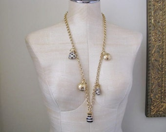 Vintage Rhinestone Enamel Charm Necklace 80s early 90s Gold Tone Chain