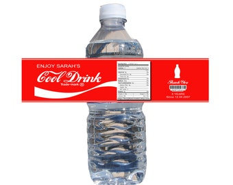 Personalize Coke Theme Water Bottle Label 24ct