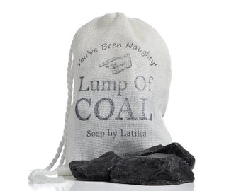 Bag of coal soap, Christmas gift for naughty boys, muslin bag with lumps of coal shaped soap, stocking stuffer