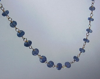 Top Quality Faceted SAPPHIRE Ceylon beads 13.5 carats and 18K yellow gold wire necklace 17 3/4 inches