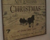 New England Christmas primitive sign from old wood