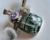 Jewelry Sale Sterling Silver Seraphinite and Faceted Amethyst Pendant by JessieJems