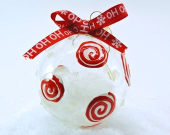 "Candy swirls red and white 3"" glass ornament"