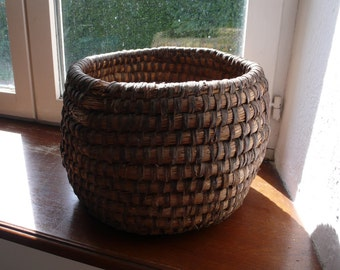 french antique hand woven basket, coiled rye, storage, wicker, kitchenalia, home decor, bread, country farmhouse, hand woven, rustic,