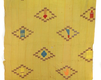 Ewe Cloth with Embroidered Motifs Ghana Togo African Tablecloth     87898