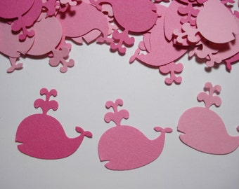 Pink whale confetti, 100  cardstock punches for party decorations, scrapbook embellishments