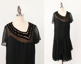 RESERVED 1920s Dress / 20s Flapper Illusion Chiffon and Velvet Dress / M