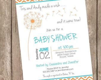 Chevron Dandelion Baby Shower Invitation, orange, teal aqua, spring baby shower inviation, typography, printable invitation