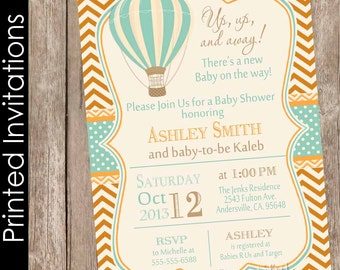 Printed Vintage Hot Air Balloon Baby Shower Invitation, up up and away, chevron, baby shower invitation, orange and blue, (FREE ENVELOPES)