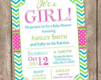 Girl chevron baby shower invitation, hot pink and lime baby shower invitation, girl baby shower invitation, printable invitation