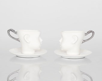 Silver porcelain doll head cups with saucers- ceramic mugs, for coffee or tea, white cups with silver handle