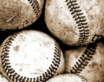 Baseball Photography Art Sepia Sports Print  Bucket of Balls Boys room Sports - 16 x 20 art print by Dawn Smith