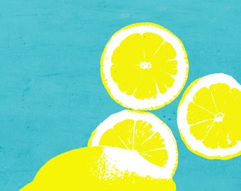 Yellow Lemons on blue background Kitchen Food    - 11 x 14 art print by Dawn Smith