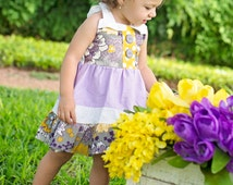 Lavender and mustard birthday girl dress, girl modern dress, toddler colorful dress, bright girl dress for toddlers to tween