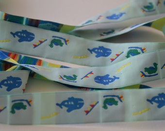 Whale Fish Trim Blue and Green Trim 4 1/4 yards