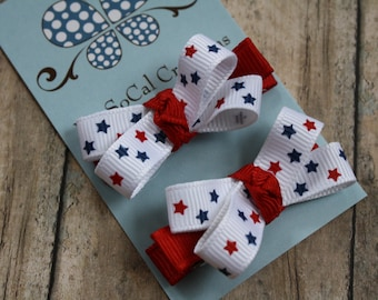 Mini Bow Hair Clip Set/ No Slip Hair Clips/ Partiotic Stars/ Red White & Blue/ 4th of July/ Pigtails