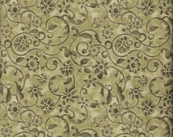 Olive Green Fabric Floral Fabric Sage Green 3 3/4 Yards Green Swirl Fabric Blender Fabric Cotton Quilting Fabric Sewing Supplies YacketUSA