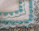 Vintage Solid White with Green Crocheted Edge Hankie Handkerchief