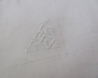 Large Solid White Cotton Hankie Monogrammed ASJ