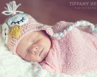 Light Pink and Grey Gray Crochet Owl Earflap Hat with Big Eyes
