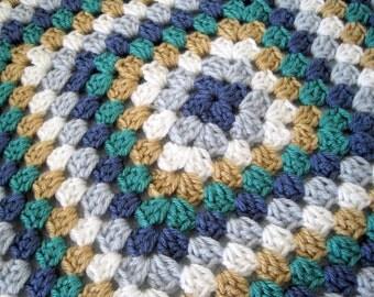 Crochet baby boy afghan granny square beachy blue green beige navy white stroller blanket crib handmade
