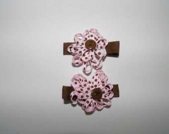 Pink and brown ribbon flower hair clip set.