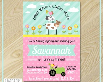 Farm Birthday Invitation - Girl Farm Birthday