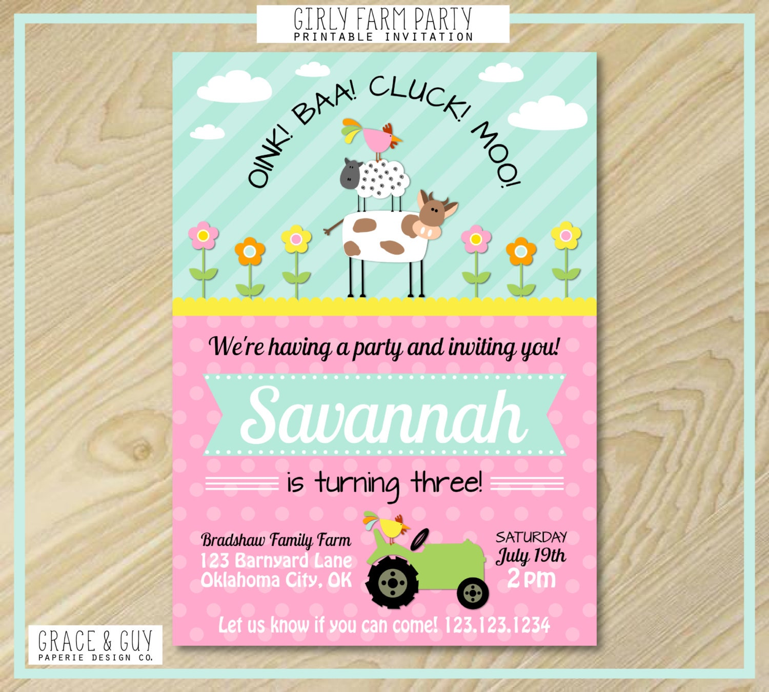 Farm Birthday Invitation Girl Farm Birthday