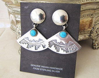 Native American Sterling silver Turquoise Fan Shape Earrings, sign RB