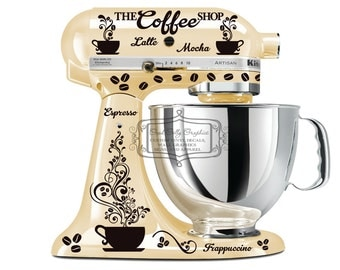 Kitchen mixer decal set COFFEE theme