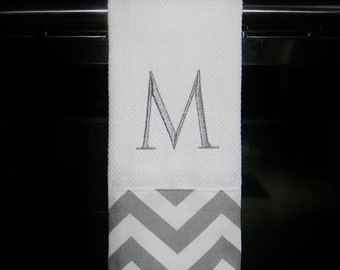 Grey and White Chevron Monogrammed Dish Towel or Hand Towel | Housewarming Gift | Hostess Gift | Gifts for Her | Wedding