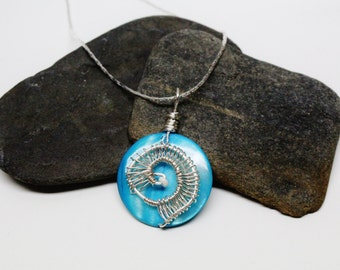 Teal Wire Wrapped Pendent Necklace
