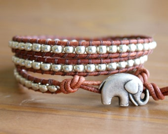 Silver Bohemian beaded leather bracelet, friendship, good luck jewelry, silver charm elephant, gift idea, hipster, by OlenaDesigns, SALE
