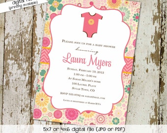 baby girl shower invitations with flowers and one piece, Infant bodysuit turquoise pink and yellow, digital, printable file (item 1365)
