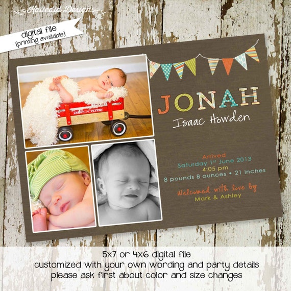 rustic baby boy shower invitation sonogram pregnancy announcement baby birth stats announcement baby blessing invite 426 Katiedid designs