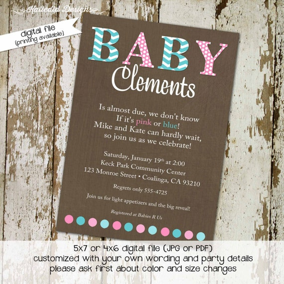 gender reveal invitation gender neutral baby shower boy girl twins blue or pink diaper couples coed bash (item 1441) shabby chic invitations