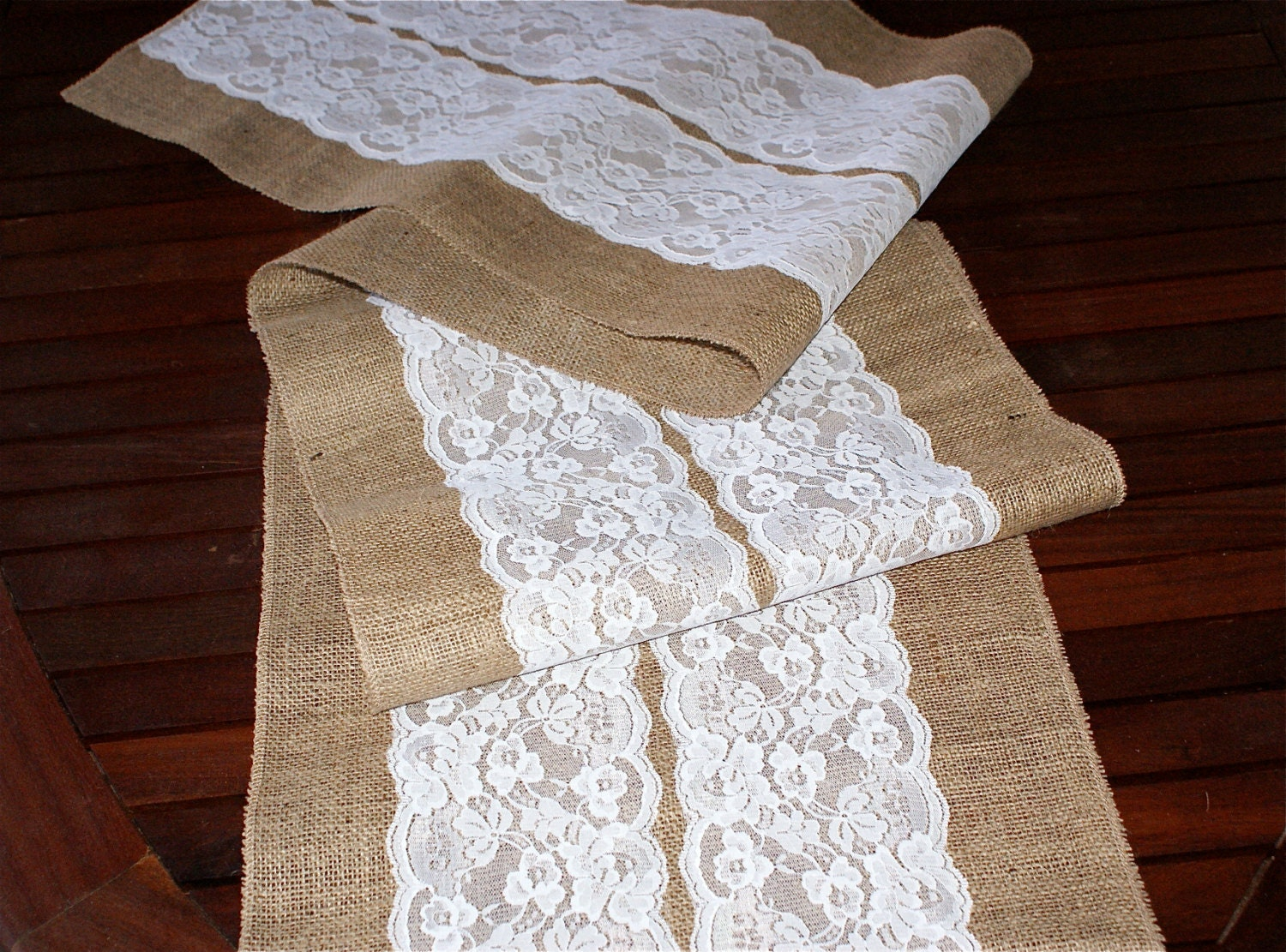 custom made wedding table runner lace and burlap