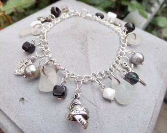 Scottish Sea Glass Bracelet, Medieval Jewelry, Crusades Charm Bracelet, Scottish Jewelry, Sea Glass Jewelry, Black Grey and White Bracelet