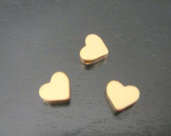 Matte Gold Tarnish Resistant mini heart bead disk Connectors, Earring Findings, pendants, 2 pc S511075