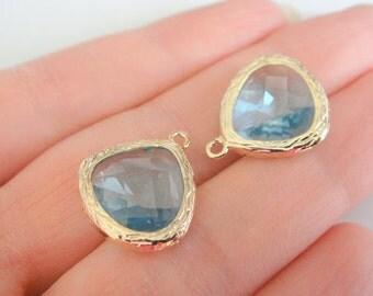 Jewelry Supplies Gold Plated Glass Pendant  Aquamarine Blue, 15 mm, 2 pc