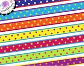 Digital Clip Art - Crazy Dotty Digital Ribbon Clipart - Instant Download - Commercial Use